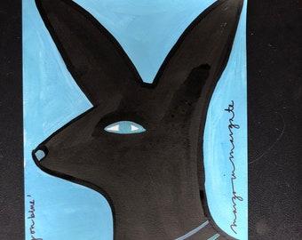 Black dog on blue 25x35.5cm Original
