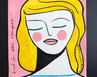 Girl in blue stripes Original 30x40.5cm