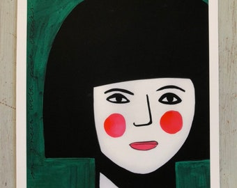 Girl on green with pink cheeks A4 print (017)