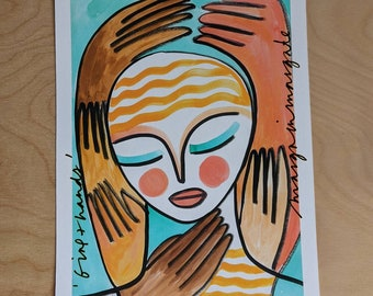 Girl and Hands A5 Print (266)
