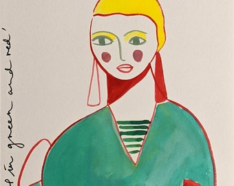 Girl in Green and Red A4 Print