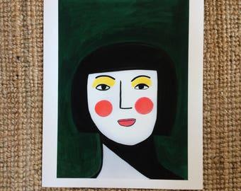 Girl with yellow eye shadow.