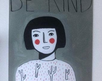 Be kind Green A4 Print (003)