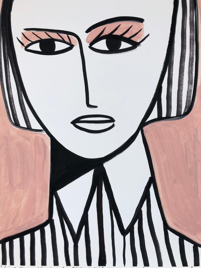 Girl in a striped shirt #2 40x50cm giclee print.