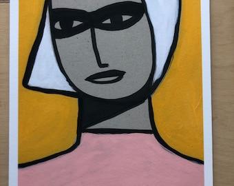 Blonde In Pink Print A4 251