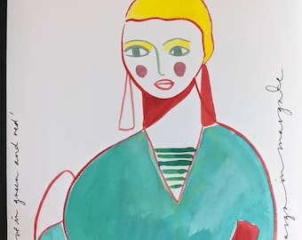 Girl in Green and Red Print 40x50cm