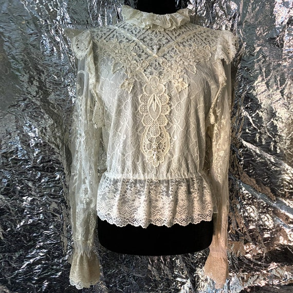 Victorian Inspired Beaded Lace Blouse