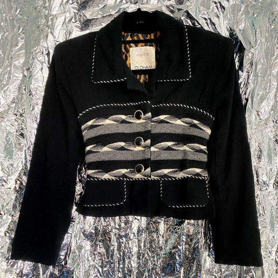 Todd Oldham Petite Black and White Wool Jacket