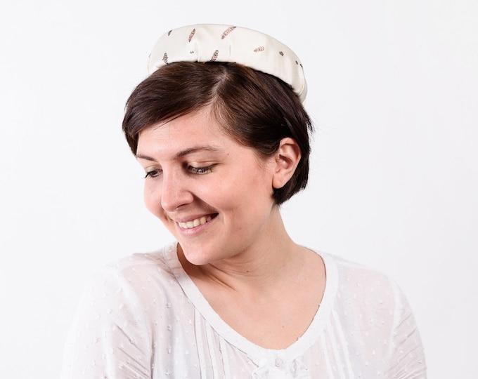 Pillbox hat, cocktail hat, wedding guest hat, cream fascinator, wedding pillbox hat, Cream pillbox hat, Audrey Hepburn hat
