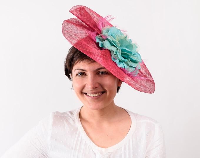 Kentucky derby hat, tea party hat, derby hats women, derby fascinator, feather fascinator, floral fascinator, pink fascinator hat, ascot hat