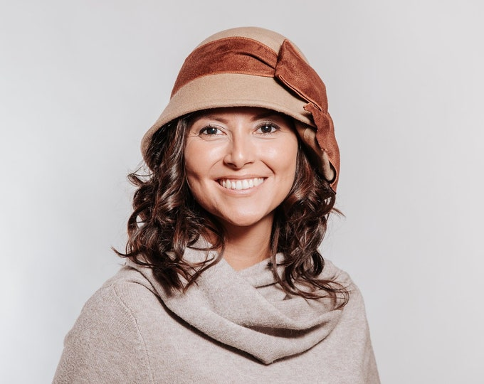 Brown felt hat for women, Downton Abbey hat, Great Gatsby hat, vintage style hat, cloche hat for women, cloche Christmas