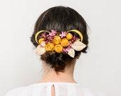 Soay - Peineta floral para invitada de boda, peina de flores, peina azul, peineta dorada, peineta morada, madrina de boda, tocado de flores