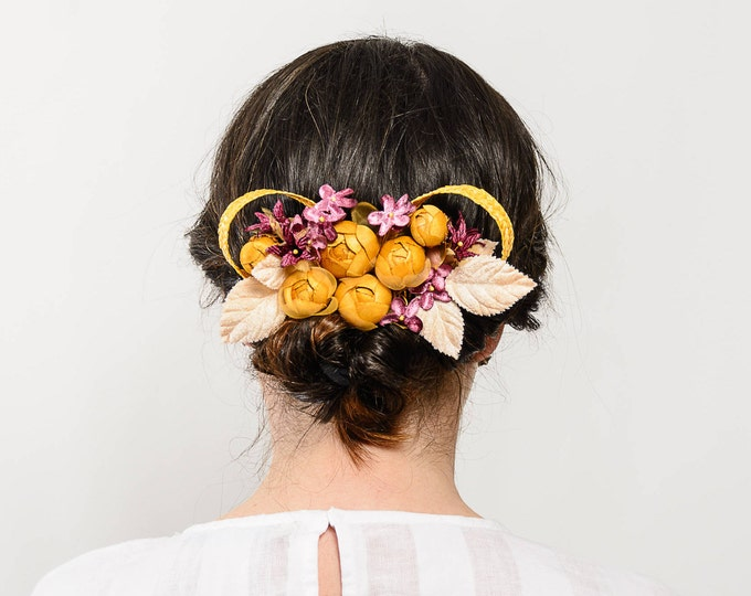 Soay - Golden and violet flower hair comb, floral headpiece, wedding hair comb, golden and purple headpiece, flower hair piece, flower comb