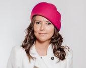 Annabella - Turbante fucsia, tocado invitada de invierno, tocado turbante para boda de invierno, turbante fashion, sombrero de invierno