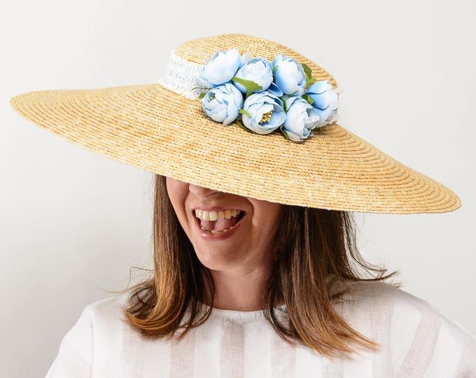 Straw hat, women straw hat, sun hat women, floppy beach hat, summer honeymoon hat, kentucky ascot derby hat, beach cover up, something blue