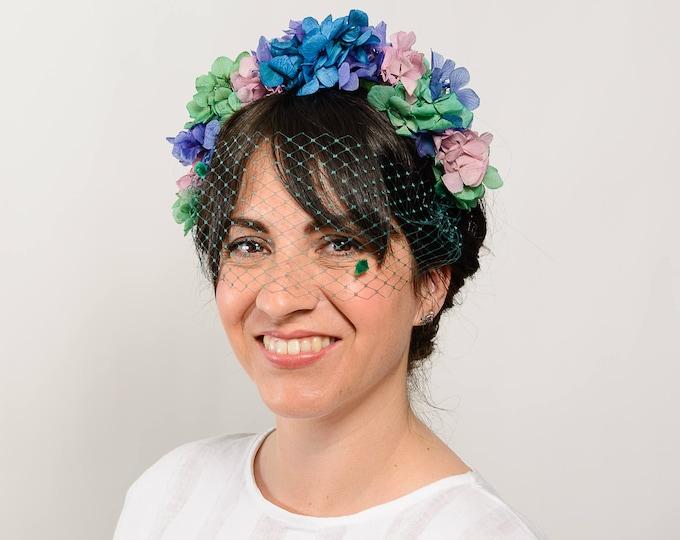 Fascinate headband with veil, birdcage veil wedding guest hat for boho wedding, floral headband