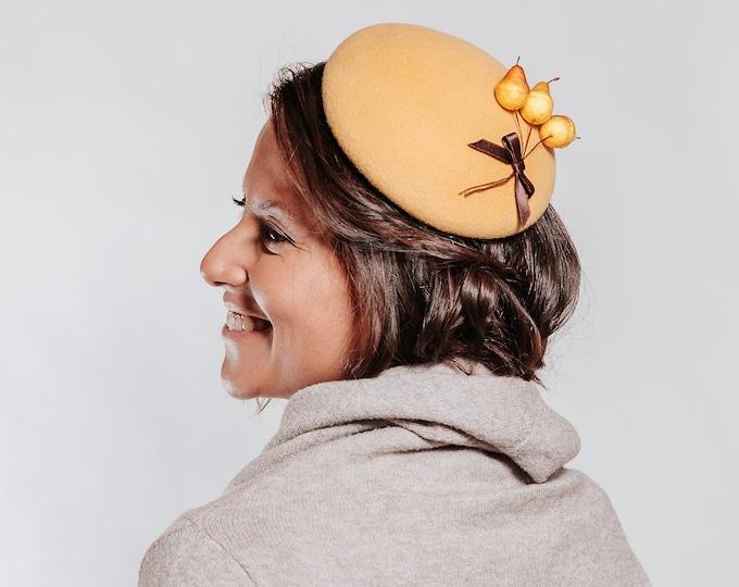 Mustard cocktail hat, mustard wedding hat, ascot hat, pillbox hat, fascinator hat, tea party hat, kentucky derby hat, derby hats women