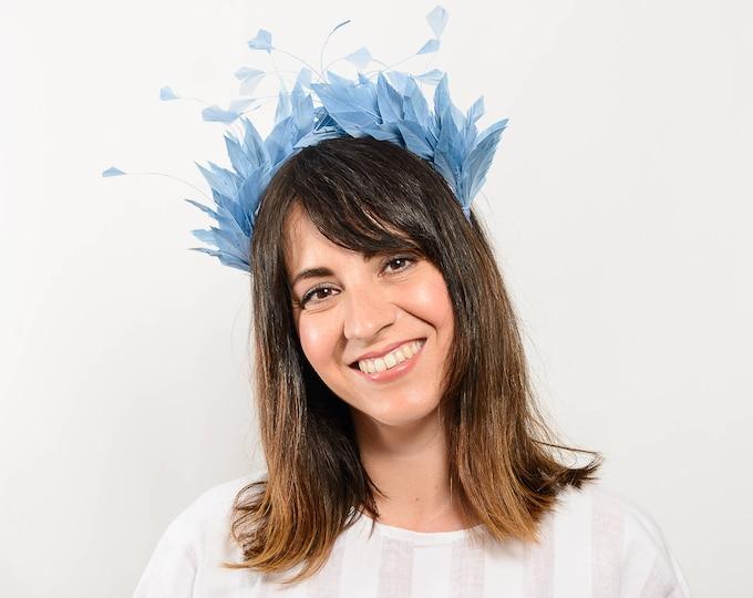 Wedding hairband, halo headband, wedding headpiece, blue fascinator, feather headpiece, something blue bride, bridesmaid gift