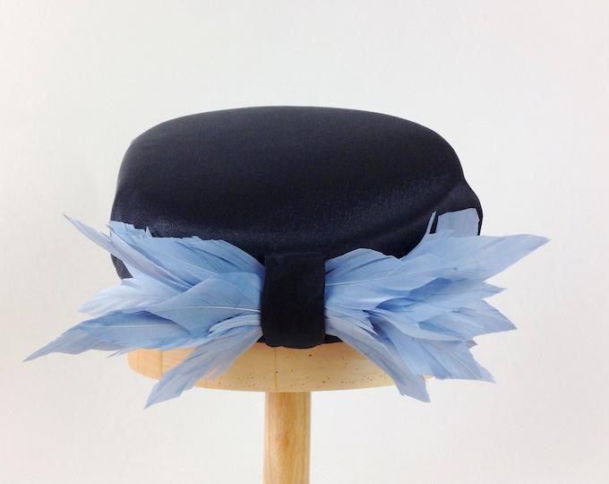 Black pillbox hat, wedding pillbox hat, pillbox Jackie, Audrey Hepburn Jackie Kennedy style, cocktail hat, Jackie O style, black hats women