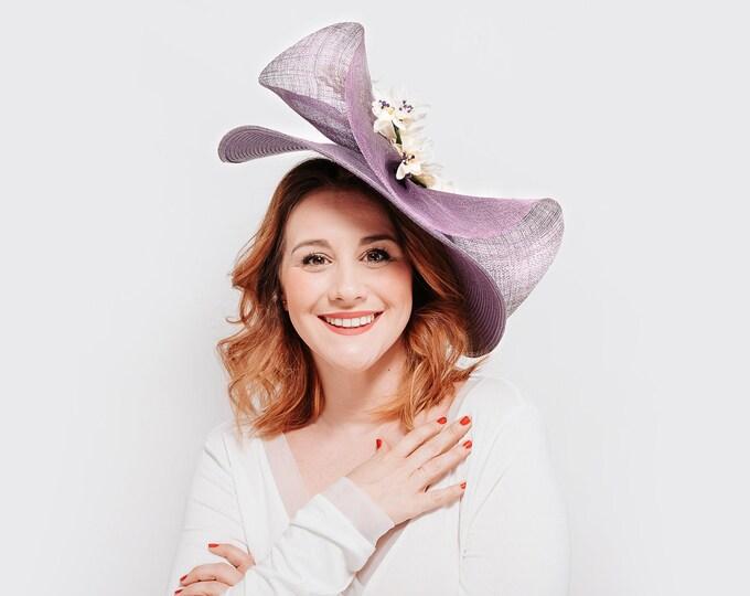 Kentucky derby hat, ascot derby hat, tea party hat, floral derby hat, kentucky races hat, purple fascinator, purple Kentucky fascinator hat