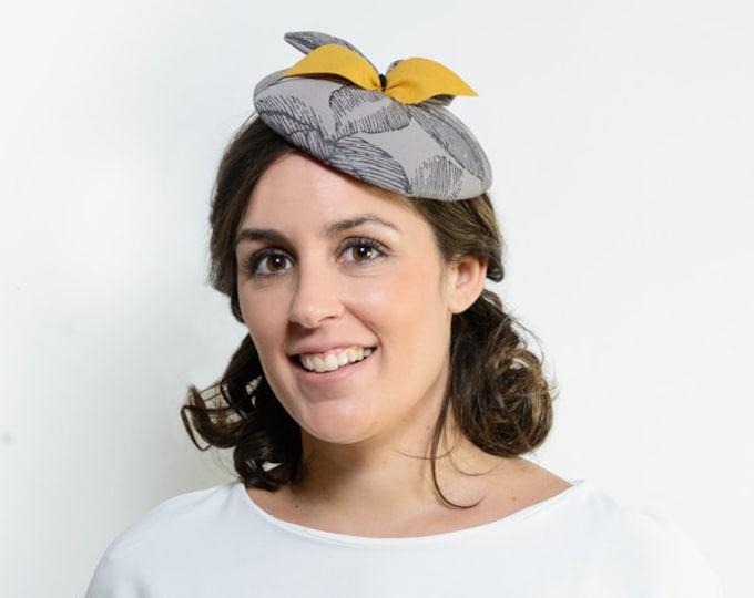 Pillbox hat, winter wedding hat, grey fascinator, fascinator hat, ascot hat, tea party hat, kentucky derby hat