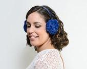 Rory - Orejeras azules de pelo sintético, Orejeras, Accesorios de invierno, regalo de navidad, black friday