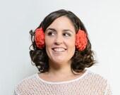 Rory - Orejeras naranjas de pelo sintético, Orejeras, Accesorios invierno, regalo de navidad