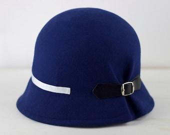 Felt hat, 1920s cloche hats, felt cloche hat for women, vintage style hat, winter wool felt hat, blue formal hat, felted hats women