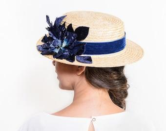 Buchanan - Navy blue floral straw boater hat, Dark blue canotier hat with flowers, floral summer hat, women straw hat, wedding guest hat