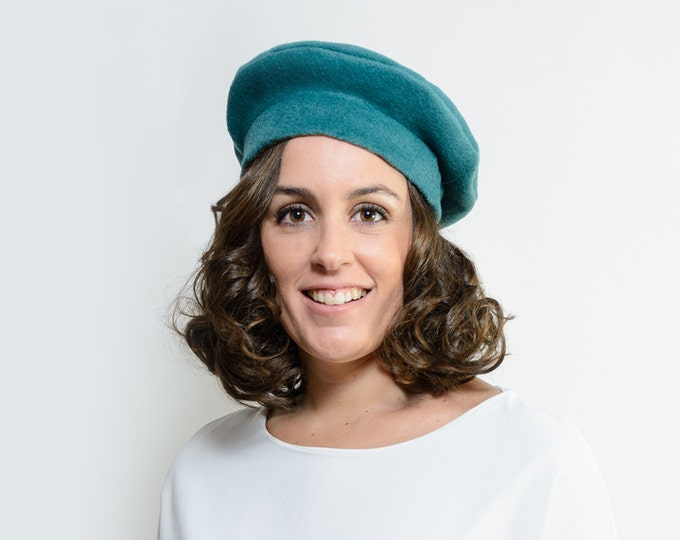 Sorley - Winter hat for women, french beret hat, warm hat, green winter hat, green formal hat, green blue winter hat, christmas gift for her