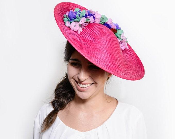 Pink Ascot derby hat, kentucky derby hat, fascinator hat, tea party hat, horse race hats, ascot fascinator, womens races hats, luncheon hat