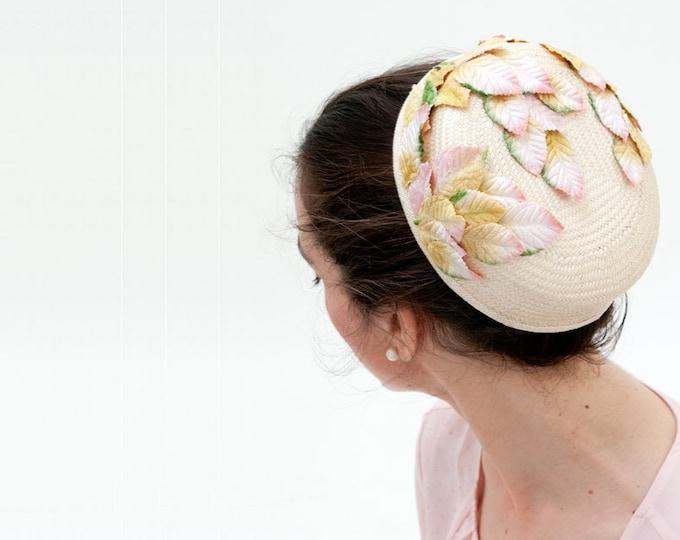 Cream pillbox hat veil, Jackie Kennedy style, wedding pillbox hat, cocktail hat, Audrey Hepburn style, wedding guest hat