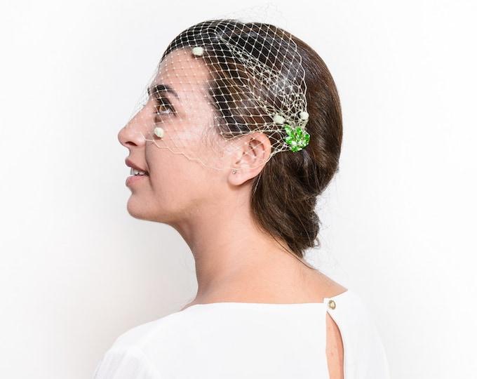 Grant - Bridal birdcage veil with crystal, wedding veiling, rhinestone veil, bridal birdcage veil, green bridal hairpiece, crystal haircomb