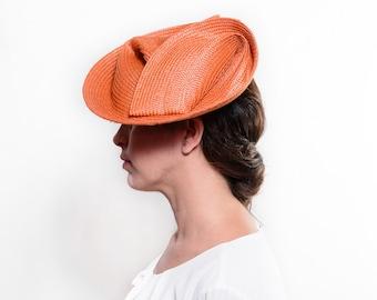 Kentucky derby hat, orange cocktail hat, straw fascinator hat, orange ascot hat, women wedding hat, derby hats women