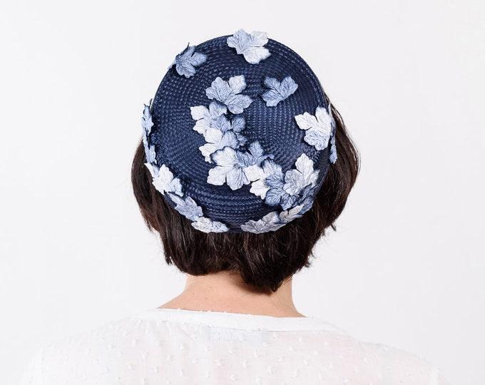 Blue pillbox hat, blue cocktail hat, blue wedding hat, mother of the bride, Audrey Hepburn hat, Audrey Hepburn style