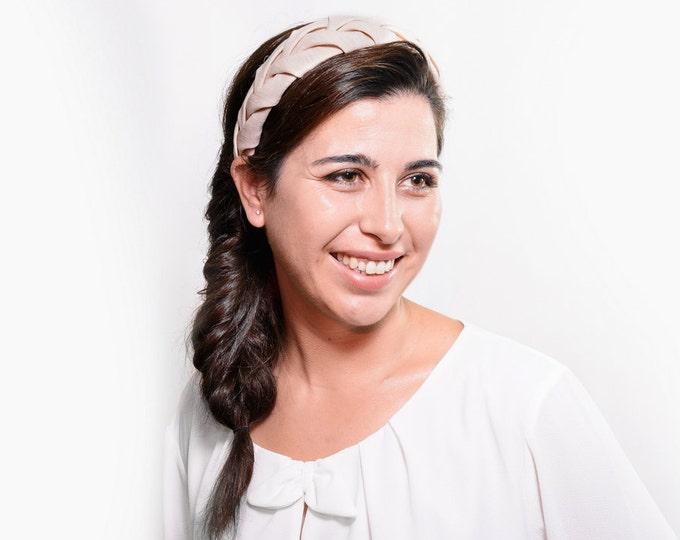 Linen cream hairband, beige headpiece, light beige headband, rustic wedding, woodland wedding, meadieva headband, country wedding