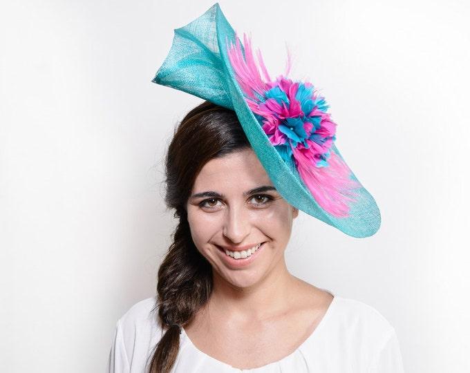 tea party hat, kentucky races hat, derby hats women, pink ascot hat, feather derby hat, kentucky derby hat, feather fascinator, fuchsia