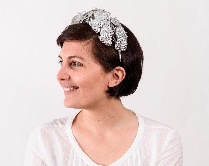Statement headband, silver leaf headband, wedding silver crown, silver flower crown, silver leaf wreath, grecian headband, bridal leaf crown