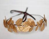 Edinburgh - Corona de hojas doradas, diadema de hojas, corona en oro para novia, corona estilo griego, diadema dorada novia, corona dorada