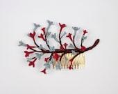 Glenna - Peineta con flores de cerámica y forma de rama
