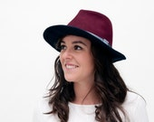 Aileas - Sombrero Fedora de Fieltro bicolor con detalle de cinta gris