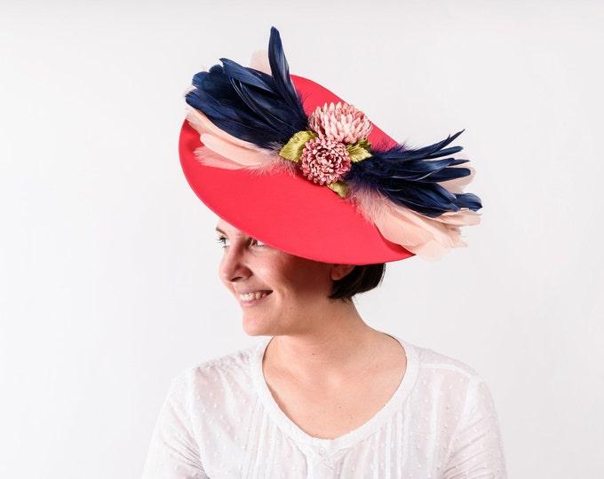 Pink fascinator hat, pink Ascot derby hat, kentucky derby hat, women's wedding hat, pink tea party hat, pink wedding hat