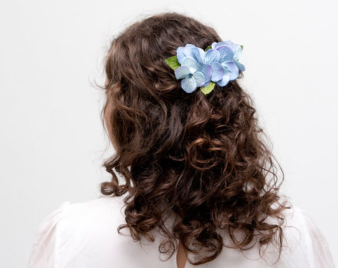 Blue hydrangea hair pin, Blue hydrangea hair comb, Hydrangea hair clip, Pink hydrangea hair piece, blue hydrangea boutonniere