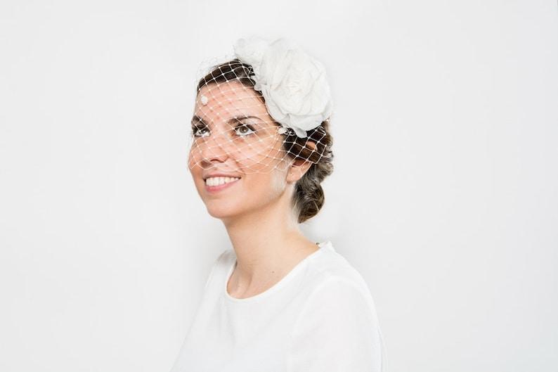 133abe5f1fcaf Isla White fascinator with veil bride floral headpiece