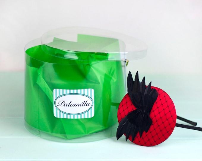 Ederline . Red fascinator, butterfly headpiece, red headpiece, red pillbox fascinator hat, red cocktail hat, red wedding hat