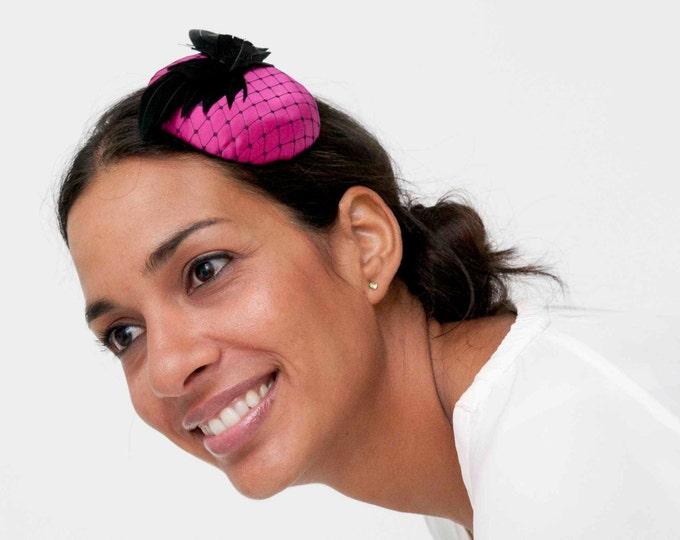 Fuchsia fascinator, pink fascinator hat, pink headpiece, pink pillbox hat, pink cocktail hat, pink derby hat, wedding guest hat, wedding hat
