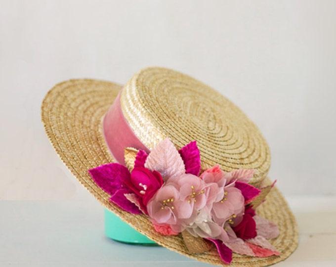 Sun hat, straw hat, boater hat, beach hat, summer hat women, straw boater hat, summer wedding hats, canotier hat, races hats, women hat