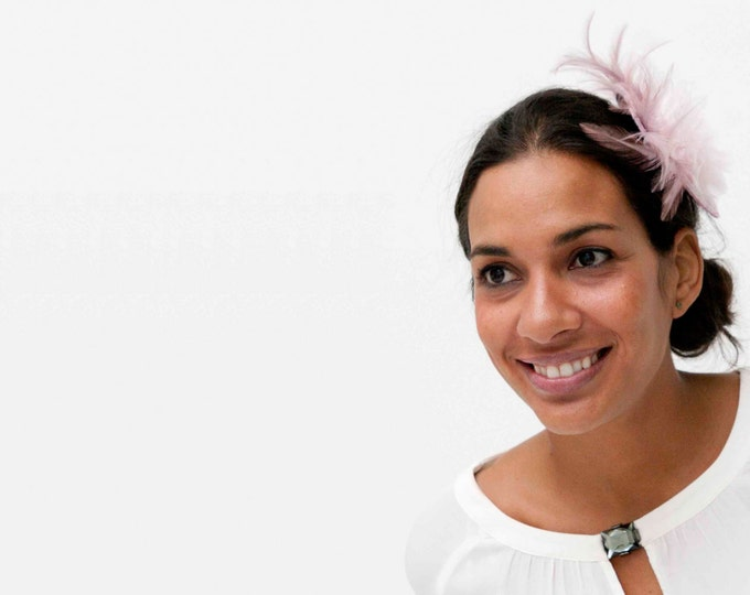 Pink Fascinator, pink feather headpiece, feather fascinator, wedding headpiece, lilac fascinator, purple fascinator
