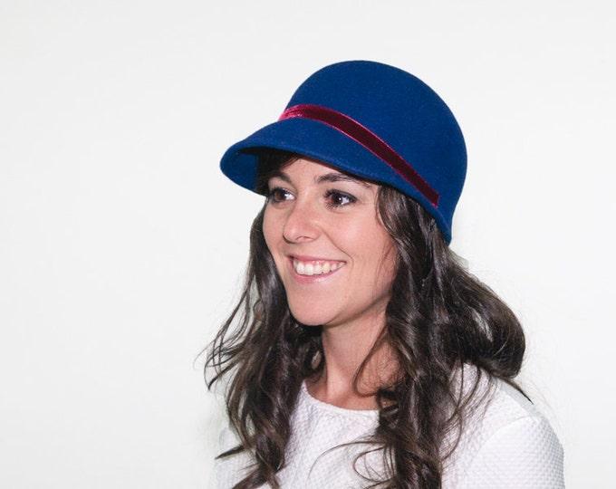 Women blue felt hat, blue classic cap hat, felted hats for women, winter wool felt hat, christmas gift for her, flapper hat