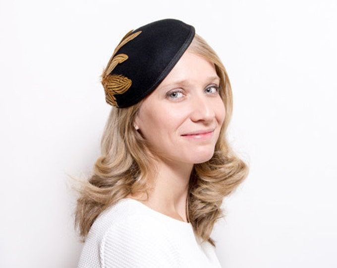 Nith - Black Felt Fascinator made with Felt and Feathers